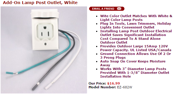 Add on lamp post outlet white bright image corporation add on lamp post outlet white mozeypictures Image collections